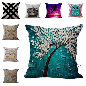 Linen Cotton Throw Pillow Case 45cm Map Tree Fruit Crown Animal Pattern Square Cushion Cover Pillowcase Sofa Bed Home Decor GWD10640