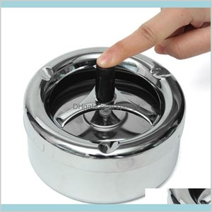 Ashtrays Smoking Accessories Household Sundries Home & Garden Top Selling Portable Practical Metal Ashtray Spinning Black Rotation Pla