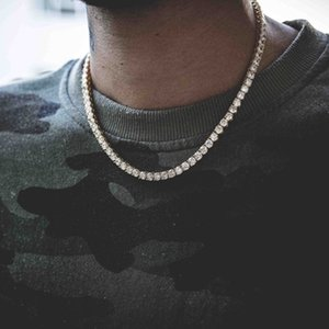 Hip-hop Necklace Tennis Chain 4mm Glass Rhinestone Men's and Women's Fashion Simple All-go Jewelry Holiday Gift