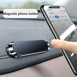 Magnetic Car Phone Holder mini Strip Paste Stand For iPhone Samsung Xiaomi Wall Zinc Alloy Magnet GPS Car Mount Dashboard