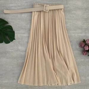 Skirts Women Pleated Skirt Casual High Waist Solid Color Belted Ladies Middle Vintage Simple Mujer Faldas Fashion