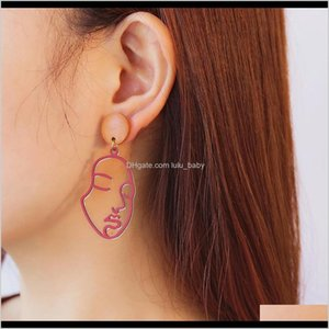 Hoop & Hie Drop Delivery 2021 Mix Color Arrival Both Human Face Dangle Earrings For Women Copper Wood Fashion Jewelry 12Pairs Rp0Wb