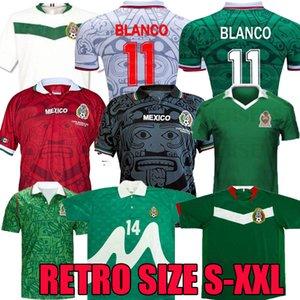 2006 Mexique Rétro Soccer Jerseys Rafael Marquez Accueil 1986 1994 1995 1998 Coupe du Monde Coupe du Monde Chemise de football à manches longues Vintage Blanco Blanc Rouge Camiseta