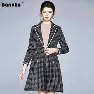 Runway Long Plaid Tweed Jacket Women 2020 Autumn Winter Notched Collar Thick Belt with Pocket Long Coat Overcoat Female