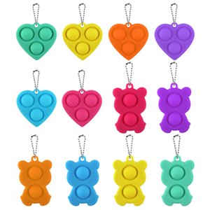 12 Styles Fidget Simple Dimple Toy Safe Stress Reliever Toy Keychain For Kid Adults Educational Push Bubble PopIt Fidget Toys