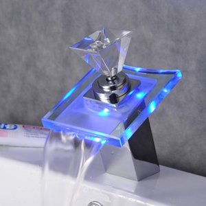 Led Light Basin Faucet Bathroom Waterfall Taps Temperature Change Color Single Hole Deck Mounted Water Sink Tap Faucets