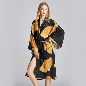 Sexy Silk Bathrobe Women Satin Kimono Robes Ginkgo biloba Print Robes Bridesmaids Long Kimono Robe Bride Silk Robe Dressing Gown