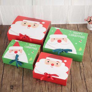 빨간색과 녹색 장식 크리스마스 종이 선물 상자 만화 사랑스러운 산타 클로스 선물 상자 어린이 사탕 상자 크리스마스 파티 용품
