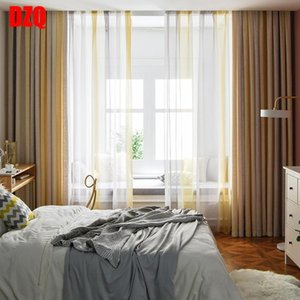 Curtain & Drapes Nordic Curtains For Living Room Bedroom Beige Gradient Cotton And Linen Blended Blackout Finished Product Customization