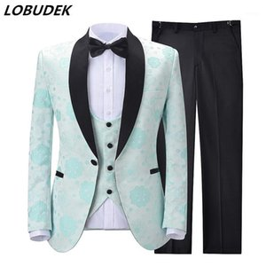 Formal 3-Piece Set Wedding Suits Men Jacquard Suit Groom Banquet Evening Party Singer Host Tuxedo Costume (Blazer+Vest+Pants)1