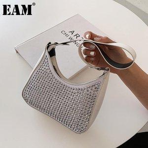 [EAM] Mujeres Diamantes de lujo Baguette PU Colgajo de cuero personalidad All-Match Crossbody Bolsa de hombro Moda Tide 2021 18a3039 Bolsas de noche
