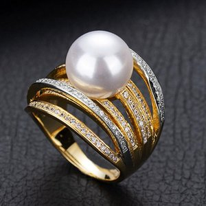 ZlxGirl Jewelry 2021 Llegada Twist Pearl Declaración Anillos para las mujeres Cubic Zircon Beads Ding Thirt Anillo Aneis