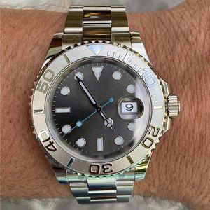 Постоянные продажи мужские часы серебристый белый керамический безель серый циферблат сапфировое стекло качество сердца качества из нержавеющей стали оригинальный твердый браслет автоматический 2813