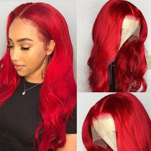 Parrucche dei capelli umani anteriori del merletto dell'onda del corpo per le donne nere precipitate del brasiliano Remy Remy Red Color HD trasparente 150%