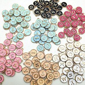 Handmade DIY Ornaments Alloy Charms Hot Selling Double Sided Drop Oil Colour Lovers Pendants 26 Letters Jewelry Sets 0 36jm G2B