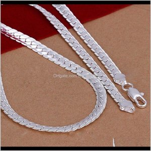 Chains 20 Inch 5Mm Snake Chain Necklace Beautiful Fashion Luxury Jewerly Making 925 Solid Sier Plated Classic Wide Women Mens Punk Roc Xn2Is