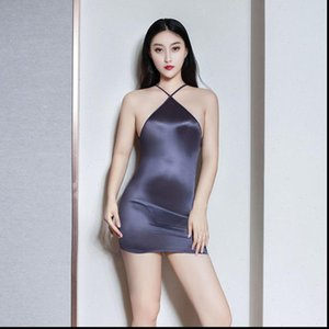 Women Dress Sexy Strap Backless Tight Pencil Cute Shiny See Through Micro Mini Bandage With G String Candy Color F1