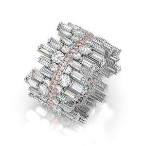 Huitan великолепный серебристый цвет кубического циркония свадьба кольцо для женщин личности нерегулярность дизайн модный ювелирные изделия Size6-10