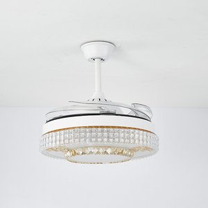 Invisible fan light ceiling fan light household dining room bedroom living room ceiling with fan chandelier integrated frequency conversion white