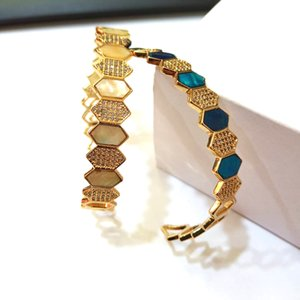 Open Cuff CZ 18K Gold bangle Bracelets filled rainbow color stone for women girl classics fashion delicate Jewelry