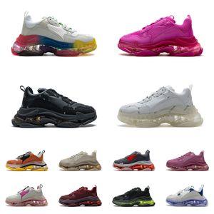 الكريستال أسفل واضح وحيد باريس الثلاثي الأحذية 17FW أحذية رياضية إلكتروني الأسود كريم الأحمر أبي منصة الرجعية السيدات رجل إمرأة عارضة المدربين