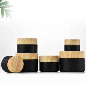 Матовый матовый черный косметический крем упаковочный стеклянный банка бутылка с деревянной зерновой пластиковой крышкой и дисковым лайнером 5G 10G 15G 20G 30G 50 г бутылки