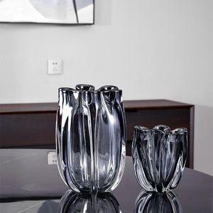 Vases Modern Aesthetic Vase Flower Transparant Glass Design Nordic Terrarium Vaso Decorativo Table Decoration DL60HP