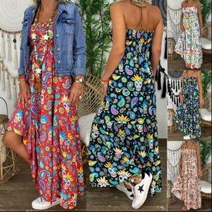 Summer Womens Strapless Women Dresses Bandeau Long Maxi Dress Floral Print Beach Boho Tube Sundress Sexy Sleeveless Backless Fema