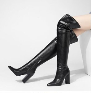 2021 pointed thick heel high heel knee boots European and American pointed toe side zipper plus size 1