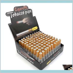 Accesorios Hogar Sundries Home Garden Forma de cigarrillo Un Hitter Bat Tube Metal Aluminio Aleación Fumar 100pcsBox 78mm 55mm LENGT