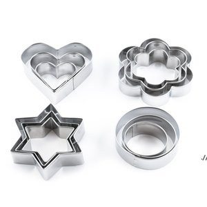 12pcs Stainless Steel Geometric Classic Shape Biscuit Cookie Cutters Set Cake Mould Sugarpaste Decorating Pastry DWE5915