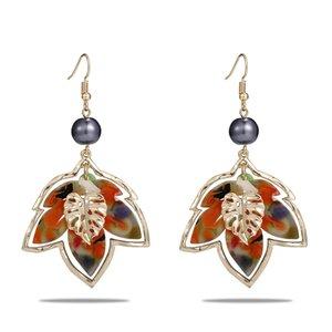Dangle Earrings of Polynesian Bulk Tonga Guam Water Drop 14K Gold Plated Maple Leave Hawaiian Jewelry Wholesale Acrylic Earring