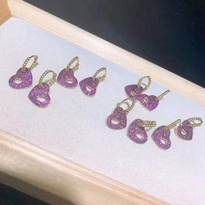 Dangle & Chandelier 2pairs lot Women's High Quality Injured Heart Shape Earrings, Gold Inlaid With Zircon