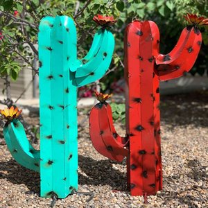 Cactus Garden Sculpture Mexican Metal Art Metal Cactus Sculpture Garden Yard Sculpture Home Yard Decor Home Decoration Ornaments L0409
