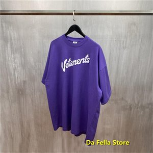 Vetements Purple White Letter Mens T Shirts Logo Print Tee Summer Men Women Oversize Vtm Hip Hop Cotton Tops