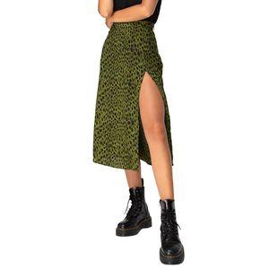 Skirts Women's Summer Skirt Sexy Open Cross Printed Half-Length Vintage Split Wrap Ladies Slim High Waist Ropa Mujer