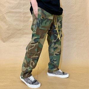 old make Rhude wash military style camouflage Multi Pocket pants leg buckle straight tube loose casual overalls pants