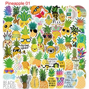 Pack of 50Pcs Wholesale Cute Pineapple Stickers Graffiti Sticker For Luggage Skateboard Notebook Helmet Water Bottle Car decals Kids Gifts