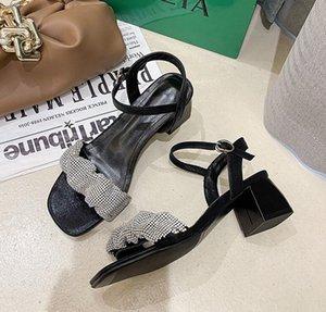 Сандалии на каблуках на каблуках для женской летней обуви Дышащий повседневный ремешок с дрелью