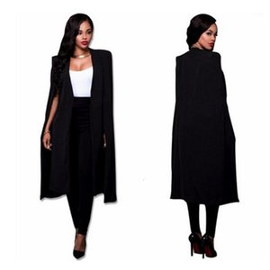 S-2XL Long Blazer Women Jacket Cloak Suits Plus Size Wind Coat Poncho Trench Shawl Wrap Manteau Cape Outerwear Windbreaker Slit1