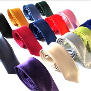 Men Solid Neck Tie Men's Narrow Neck Ties Polyester Silk Classic Neckties Fashion Skinny Neck Ties Wedding party Supplies145cmx5cm LSK1203