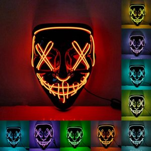 Halloween Horror Mask Cosplay Led Mask Light up EL Wire Scary Mask Glow In Dark Masque Festival Party Masks CYZ3234