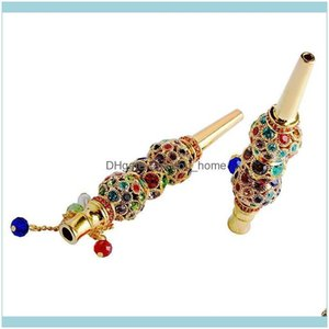 Pipes Household Sundries Home & Gardencolorful Rhinestone Beaded Cigarette Holder Alloy Mouth Diamond Arab Shisha Narguile Filter Smoking Ho