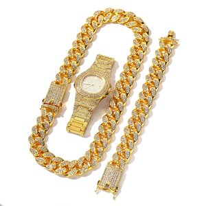 3pcs Necklace +Watch+Bracelet Hip Hop Miami Curb Cuban Chain Gold Full Iced Out Paved Rhinestones CZ Bling For Men Jewelry