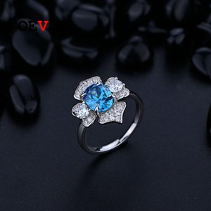 Cluster Rings OEVAS 100% 925 Sterling Silver 7*9mm Aquamarine Sapphire Ruby High Carbon Diamond For Women Sparkling Party Fine Jewelry