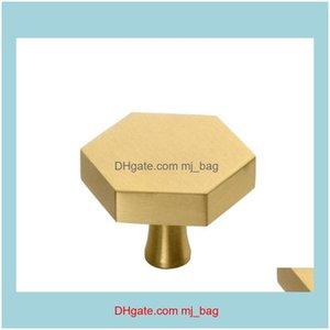 Hardware Building Supplies Home & Gardengold Kitchen Cabinet Solid Brass Hexagon Shape Furniture Der Handles Pulls Single Hole Dresser Knobs