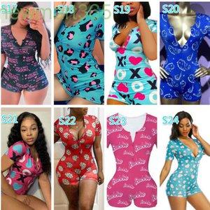 Women Nightwear Playsuit Workout Button Skinny Hot Print Short Sleeve Jumpsuits V-neck Short Onesies Women Plus Size Rompers 2021