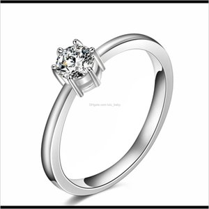Drop Delivery 2021 Wedding Love Zircon Solitaire Ring Sliver Plated Fashion Jewelry 4 Size Band Rings Personnel Woman Rp0Ks