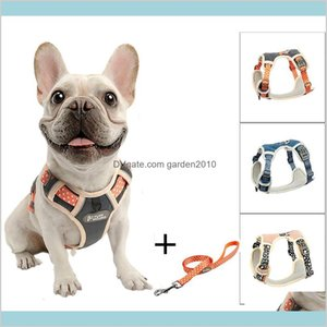 Dog Collars & Leashes Supplies Pet Home Garden Tuff Hound Nylon Harness No Pull French Bulldog Adjustable Soft Puppy Vest Leash Set Ac
