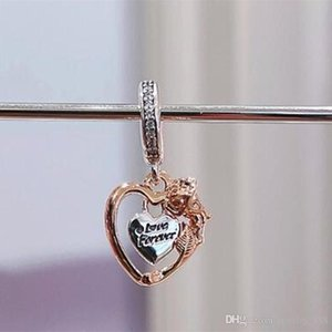 2021 Spring S925 Sterling Silver Heart & Rose Flower Dangle Charm Bead Fits European Pandora Jewelry Bracelets Necklaces & Pendants